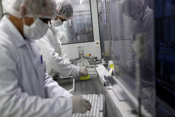 Vials containing CoronaVac, Sinovac Biotech's vaccine against Covid-19, at the Butantan biomedical production center in São Paulo, Brazil, on Tuesday.