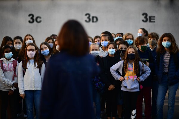 Students at a school near Paris in September. France is ramping up its efforts to test schoolchildren in order to stop a coronavirus variant from spreading.