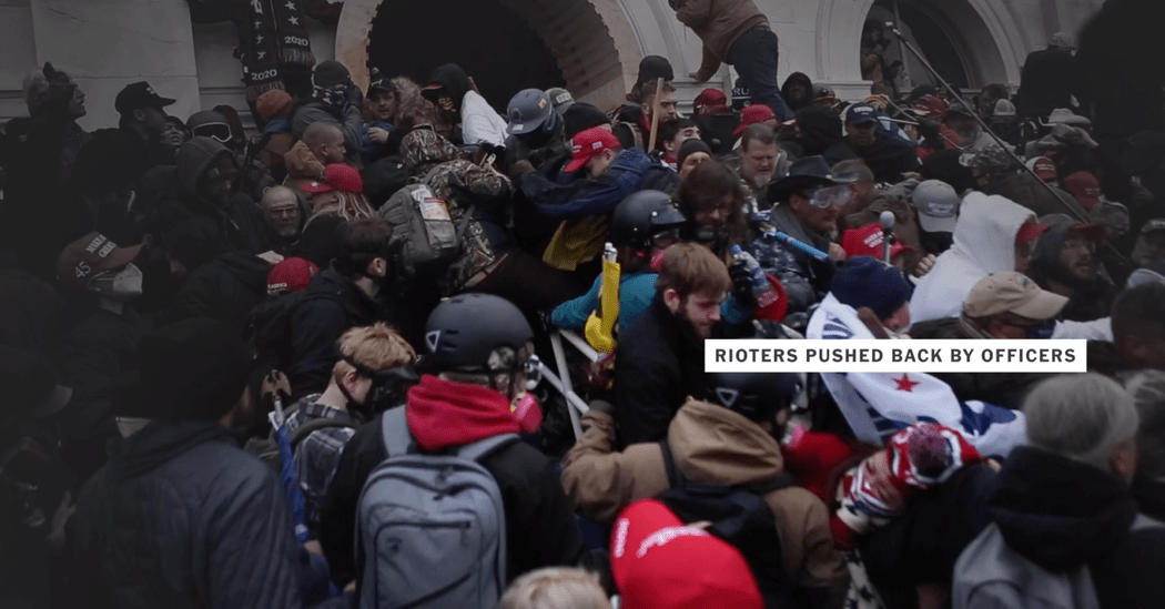 Videos show how a rioter was trampled in the stampede at the Capitol.