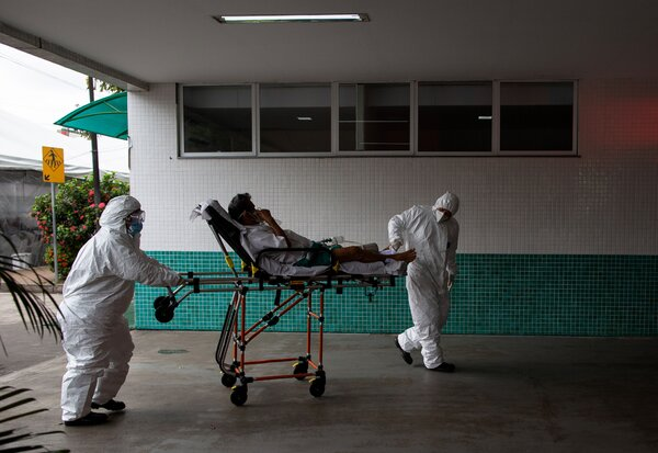 A patient arriving at a hospital in Manaus, Brazil, on Thursday.