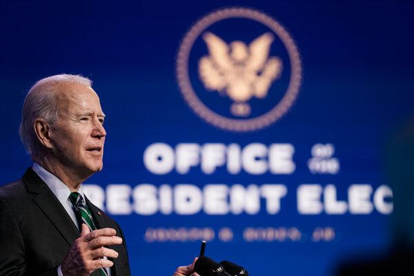 President-elect Joe Biden speaking in Wilmington, Del., on Saturday.