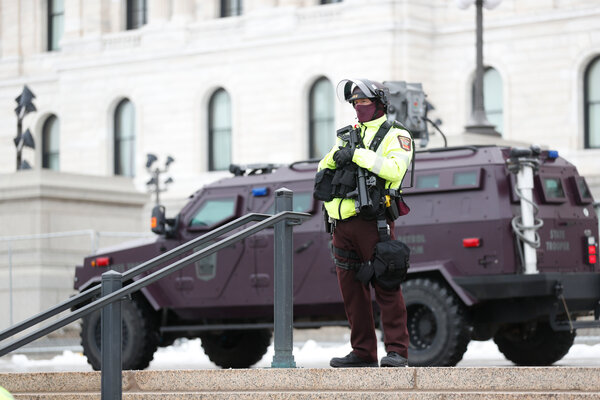 Minnesota law enforcement agencies guarding the state Capitol on Saturday.