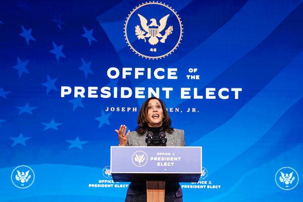 Vice President-elect Kamala Harris speaking in Wilmington, Del., on Saturday.