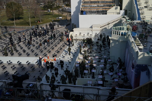 People evacuated from an inauguration rehearsal at the Capitol after a small fire broke out on Monday.