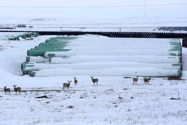 A depot used to store pipes for Transcanada Corp's planned Keystone XL oil pipeline in Gascoyne, N.D., in 2017.