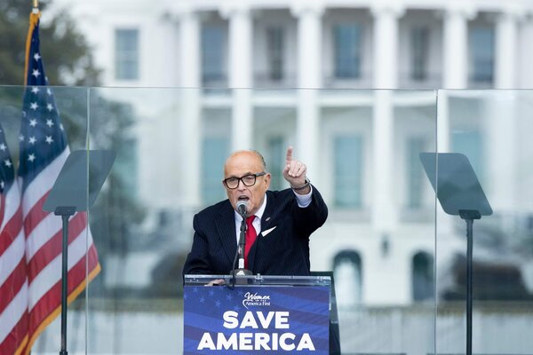 President Trump's personal lawyer, Rudolph W. Giuliani, spoke to Trump supporters before rioters sieged the U.S. Capitol on Jan. 6.