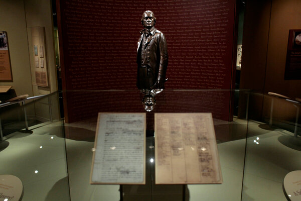 A sculpture of Thomas Jefferson stood over a copy of a rough draft of the Declaration of Independence at the Smithsonian National Museum of American History in 2012.