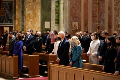 President-elect Joseph R. Biden Jr. and his wife, Jill Biden, attending Mass at the Cathedral of St. Matthew the Apostle in downtown Washington.