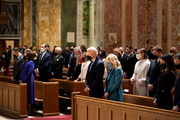 President-elect Joseph R. Biden Jr. and Dr. Jill Biden attending Mass at St. Matthews Cathedral in downtown Washington on Wednesday.
