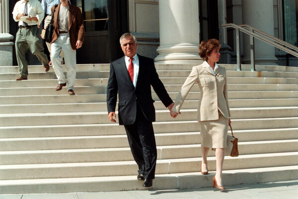 Al Pirro, seen with his then-wife JeaninePirro, at the U.S. Federal Courthouse in White Plains, N.Y., in 2000, was pardoned by former President Donald J. Trump on Wednesday.