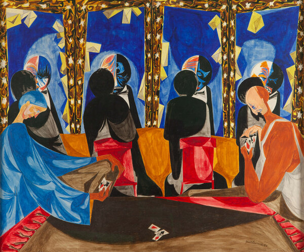 """Makeup (Dressing Room)"" (1952) by Jacob Lawrence is among the works on view at this year's virtual verison of the Winter Show, which runs through Jan. 31 on the art fair's website."