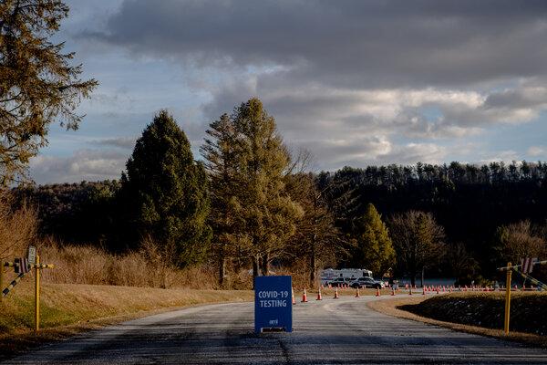 A coronavirus testing site at Beltzville State Park in Pennsylvania on Wednesday.