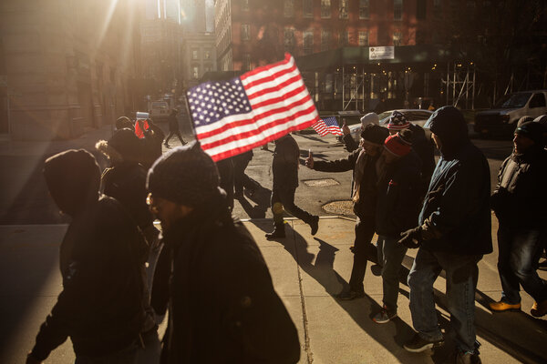 A protest in New York in 2017 in opposition to President Donald J. Trump's executive order preventing people from several majority Muslim countries from entering the country.