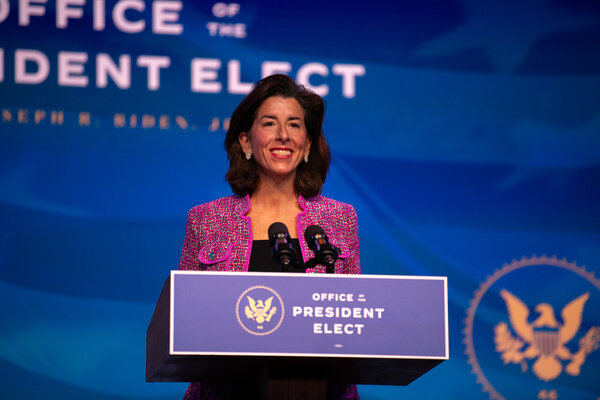 governor.  Gina Raymondo of Rhode Island is the Biden administration's choice to lead the Commerce Department.
