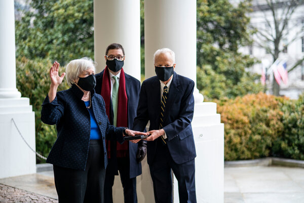 Janet L. Yellen being sworn-in on Tuesday.