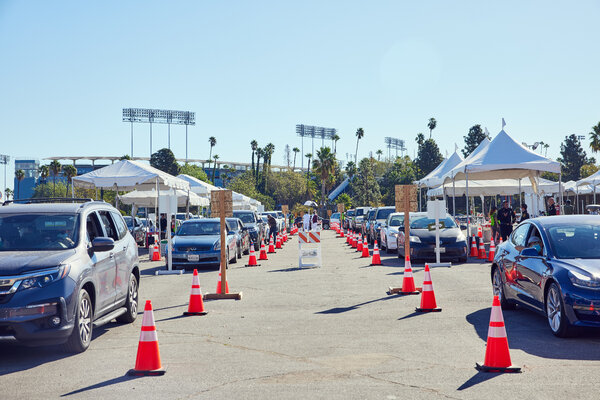 Dodger Stadium has been turned into a mass vaccination site.