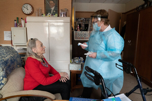 A resident getting the Pfizer vaccine at a nursing home in New York last month.