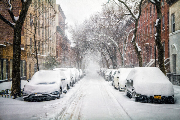 Snow piled up on a Cobble Hill, Brooklyn, street on Monday.