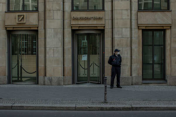 A Deutsche Bank office building in Berlin. The bank, Germany's largest, credited a rise in trading revenue for its first annual profit in six years.