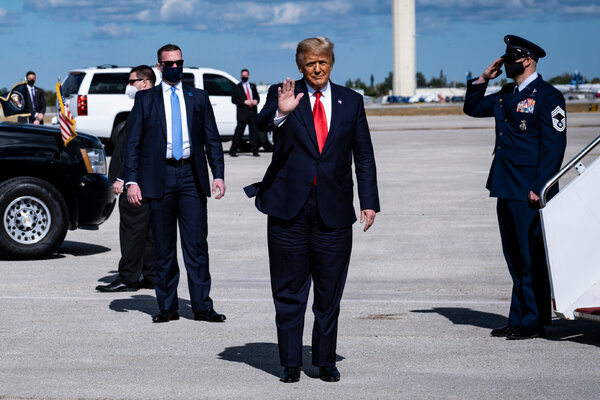 During his last morning as president, Donald J. Trump arrives at Palm Beach International Airport in Palm Beach, Fla., on Jan. 20.