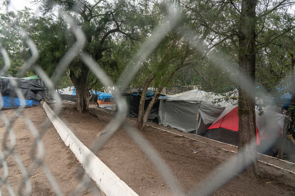 Tents inside a make-shift migrant camp in Matamoros, Mexico, on Sunday.