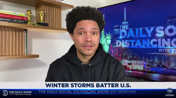 """""""This storm has turned Texas into that ice level from Mario Kart. If I was in Texas right now, I'm carrying around a green shell with me, just to be safe,"""" Trevor Noah said."""