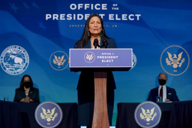 Representative Deb Haaland of New Mexico was nominated to lead the Interior Department. She is the first Native American to be chosen for a cabinet position.