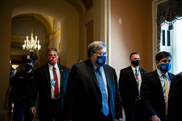"""William P. Barr, center, the former attorney general, said in an interview that the government """"cannot tolerate violence interfering with the process of government."""""""
