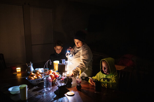Manessa Grady and her sons Zechariah, 8, left, and Noah, 9, were among the millions of Texas residents who lost power this week.