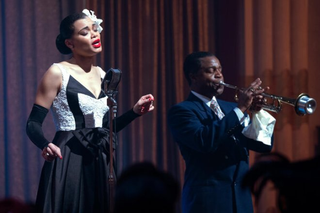 """Andra Day and Kevin Hanchard in """"The United States vs. Billie Holiday,"""" directed by Lee Daniels."""