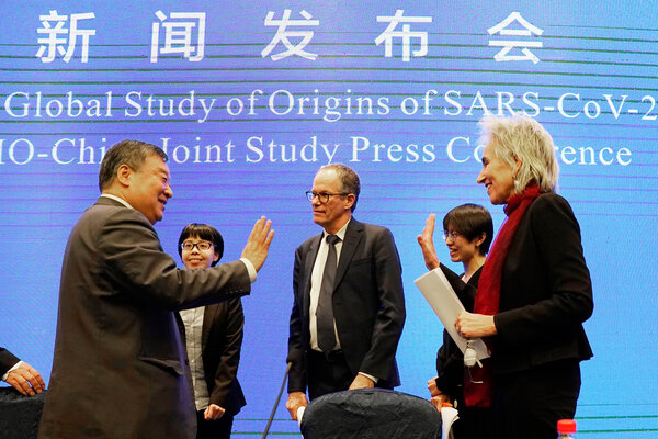 A Chinese official bidding farewell on Feb. 9 to two members of the World Health Organization team that visited Wuhan, China, to investigate the origins of the novel coronavirus. <br /><br /><br />