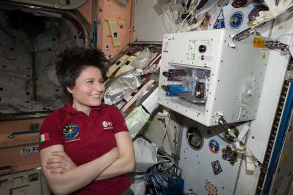 Samantha Cristoforetti, an Italian astronaut, in 2015 on the International Space Station.