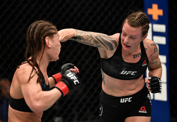 Joanne Calderwood of Scotland is moving up in the flyweight division following a win over Jessica Eye.