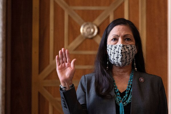 Representative Deb Haaland of New Mexico, if confirmed as interior secretary, would be the first Native American to serve in the cabinet.