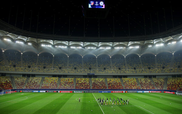 Atletico Madrid training in Bucharest, Romania, on Monday.