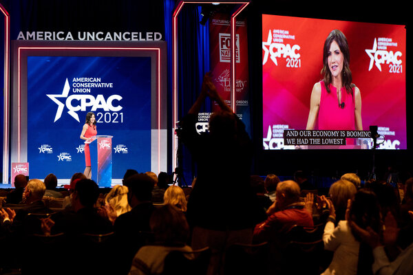 Gov. Christie Noam of South Dakota was one of the featured speakers at the CPAC on Saturday.