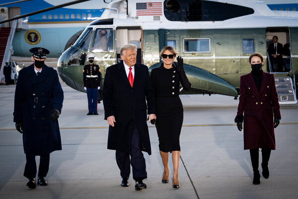 Former President Donald Trump and former First Lady Melania Trump before boarding Air Force One for his last time as president on Jan. 20.