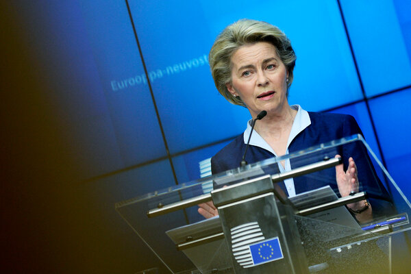 Ursula von der Leyen, the president of the European Commission, speaking at a press conference at the end of a European Union summit in Brussels on Friday.