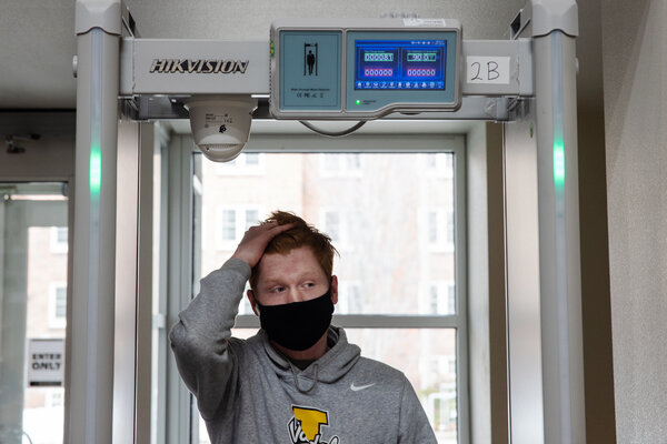 Thermal scanners check every visitor to the Student Union Building at the University of Idaho in Moscow, Idaho. So far, only 10 people have been turned away and instructed to get a coronavirus test.