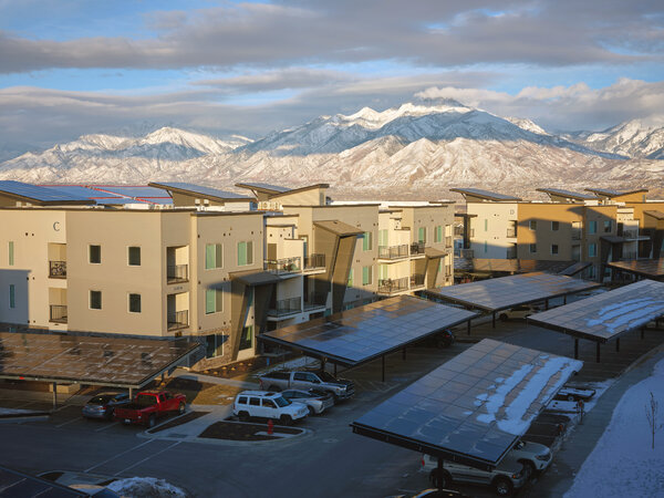 Solar energy collected at Soleil Lofts is stored in batteries that can be tapped by local utility Rocky Mountain Power.