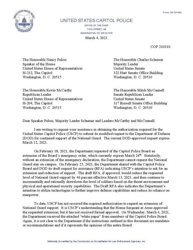 Read the Letter From the Acting Chief of Capitol Police on