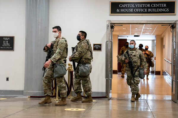 National Guard members inside the Capitol on Thursday.