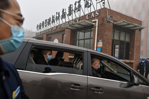 The World Health Organization team investigating the origins of the coronavirus in Wuhan in February.