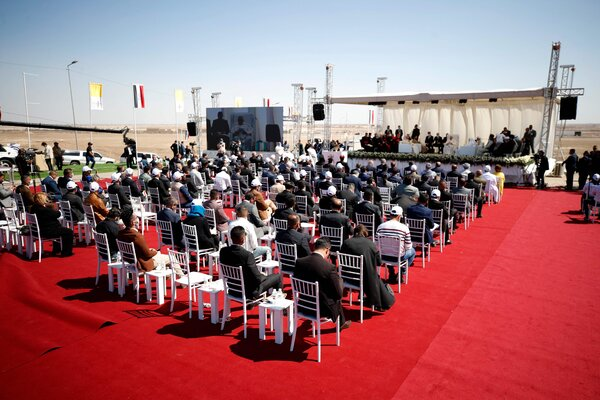 Pope Francis attended an interreligious meeting at the Plain of Ur, Iraq, on Saturday.
