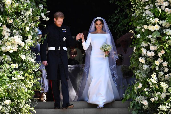 Harry and Meghan at St. George's Chapel for their wedding in 2018.