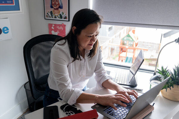 Emmy Ruiz, the White House director of political strategy and outreach, works from her home office in Austin, Texas.