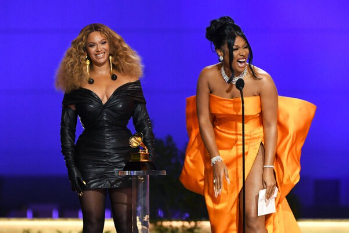 """Beyoncé and Megan Thee Stallion accepted the award for best rap performance for """"Savage."""""""
