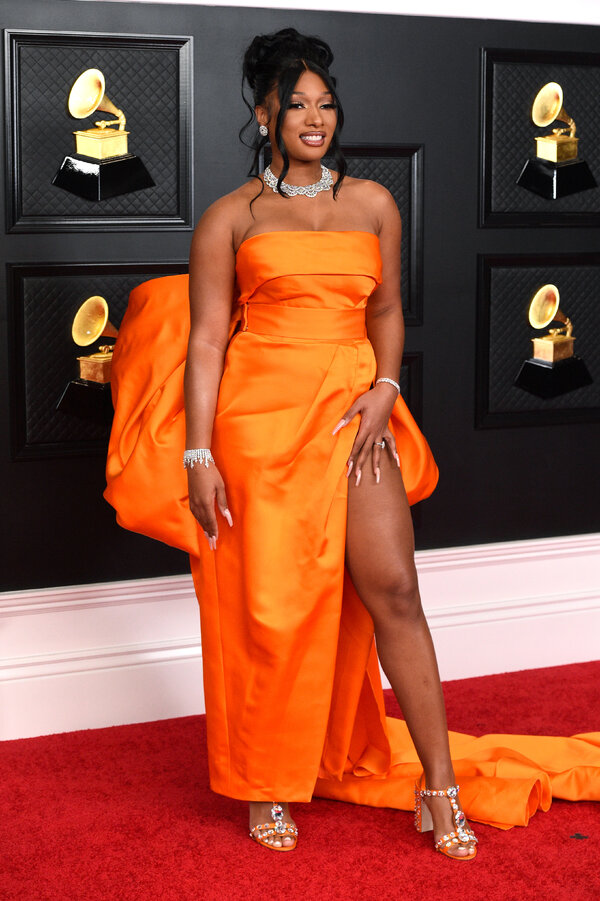 Megan Thee Stallion arrives at the 63rd annual Grammy Awards.
