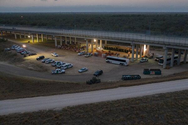 A makeshift Customs and Border Protection processing center under the Anzalduas International Bridge in Granjeno, Texas, last week.