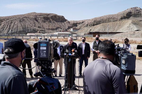 "Representative Kevin McCarthy, the Republican leader, led a dozen colleagues on Monday to the border near El Paso, where he branded the surging migration problem ""Biden's border crisis."""
